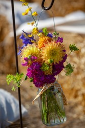Hanging Vase Mason Jar of Color Flower Arrangement Bouquet Floral