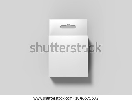 Hanging white blank cardboard packaging box with hang tab retail box for mock up design and design presentation. 3d render illustration.