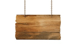 Hanging wooden sign isolated on white.