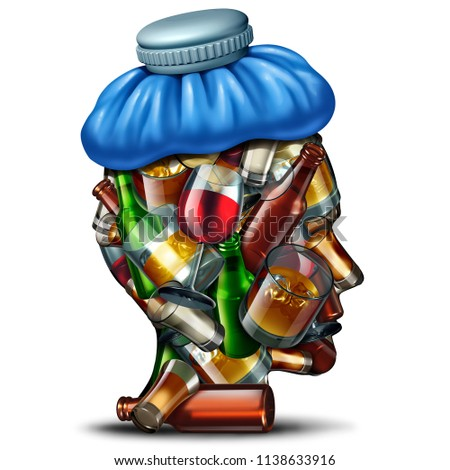 Hangover cures concept and sober up idea with a group of alcohol and alcoholic drinks shaped as a human head suffering from a severe headache with an ice bag as a 3D render.