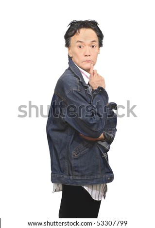 hangover pale looking drowsy adult male person jacket sloppy dressing  studio pose from knee up side view profile. blank stare emotion