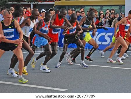 Hangzhou, China - Nov 9: Marathon runners start to run Nov 9, 2008 in Hangzhou, China