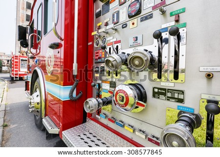 Hangzhou, China - on May 25, 2015: China\'s fire engines equipment close shot high performance Fire engines is the guarantee of urban fire rescue