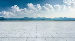 Hangzhou West Lake Mountain natural landscape and empty square floor.