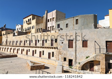Hania city and the old Venetian fortress at Crete island in Greece