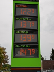 Hannover, Germany 09/09/2019 Current gasoline prices (in euro currency) at a gas station in Hanover.