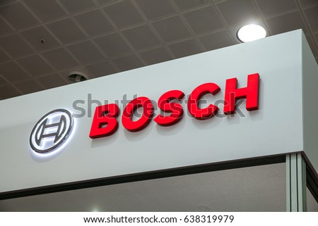 Hannover, Germany - March, 2017: Bosch company logo on the wall. Bosch is a German multinational engineering and electronics company