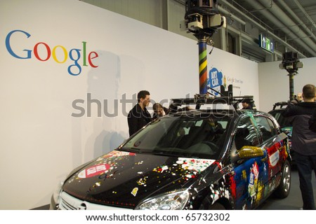 HANNOVER, GERMANY - MARCH 6: Google Street View Car on March 6, 2010 in CEBIT Hannover, Germany. Google Street View is a technology that provides panoramic views along many streets in the world.