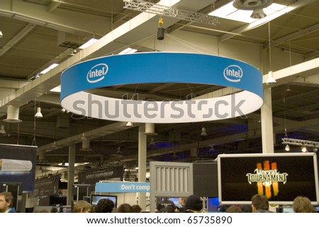 HANNOVER, GERMANY - MARCH 6: stand of the Intel on March 6, 2010 in CEBIT computer expo, Hannover, Germany. Intel Corporation is an technology company and the world's largest semiconductor chip maker.