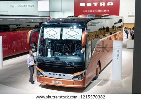 HANNOVER, GERMANY - SEP 27, 2018: Setra S 516 HD touring bus showcased at the Hannover IAA Commercial Vehicles Motor Show. #1215570382