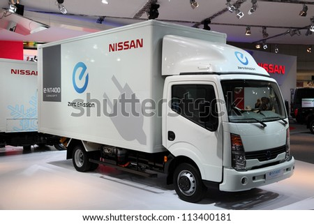 HANNOVER - SEP 20: New Electric Nissan E-NT400 Concept Truck at the International Motor Show for Commercial Vehicles on September 20, 2012 in Hannover Germany