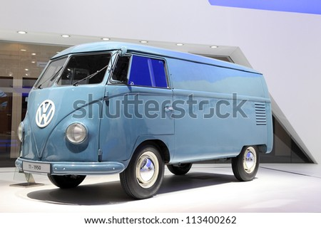HANNOVER - SEP 20: Volkswagen T1 Van from 1950  at the International Motor Show for Commercial Vehicles on September 20, 2012 in Hannover Germany