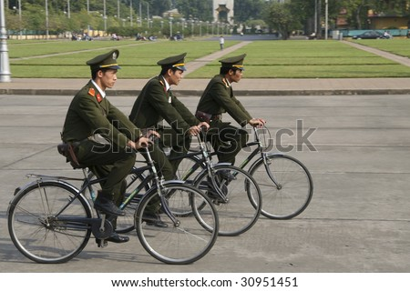 HANOI - NOV 7: Cycling guards at Ho Chi Minh tomb in Hanoi, Vietnam. Picture taken on 7th November 2008