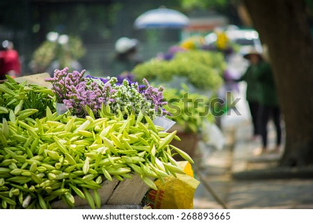 HANOI, VIETNAM - APRIL 12, 2015: Unidentified flower vendor at the flower small market. This is a small market for retail florists and street vendors.