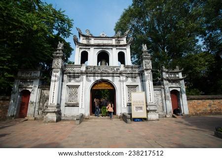 HANOI, VIETNAM, DECEMBER 12: Main entrance gate to the temple of Literature on December 12, 2014 in Hanoi, Vietnam. The temple of Literature, built in 1070, is the first Vietnamese university.
