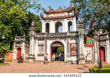 HANOI, VIETNAM - NOVEMBER 24,2009 - In Complex Temple of Literature of Hanoi.Temple of Literature is also called temple of Confucius.