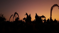 Hanoman's Silhouette on Kecak Dance at Uluwatu's Temple, Bali, Indonesia