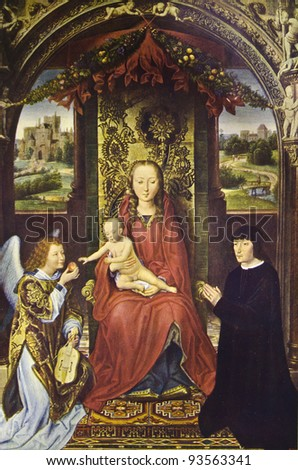 "Hans Memling ""Madonna with infant Christ."" Reproduction from illustrated Encyclopedia «Art galleries of Europe», Partnership «M. O. Wolf», St. Petersburg - Moscow, Russia , 1901"