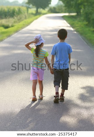 Hansel and Gretel, road to sun, children love, hold hands
