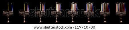 Hanuka candles - all 8 days, isolated on black