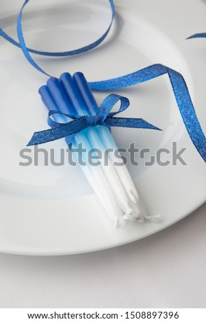 Hanukkah candles gift present on white background Jewish holidays traditions