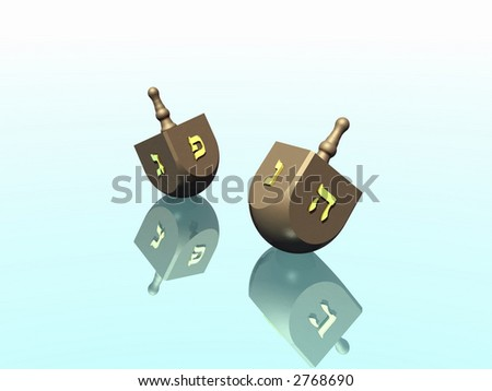 Hanukkah celebration. Dreidel. Jewish tradition. 3D rendering. - stock photo