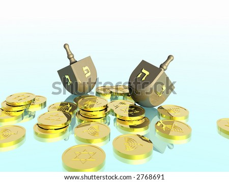 Hanukkah celebration. Dreidel. Jewish tradition. 3D rendering.