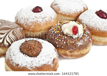 Hanukkah donuts with jam and chocolate