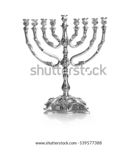 Hanukkah menorah on white background #539577388