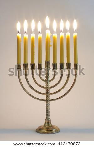 Hanukkah menorah with candles #113470873