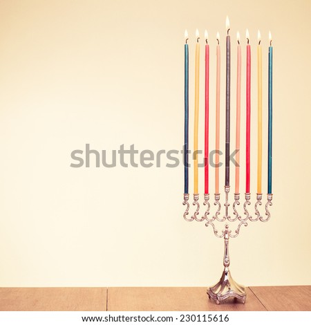 Hanukkah menorah with candles for holiday greeting card background #230115616