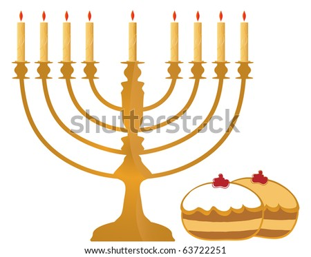 Hanukkah Symbols On White Background