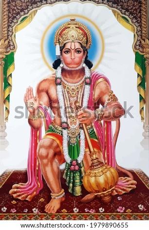 hanuman indian holy god monkey  jayanti yellow  illustration