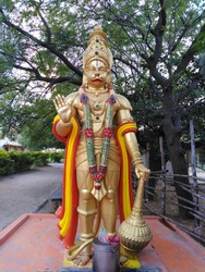 Hanuman is an ardent devotee of Rama. Hanuman is one of the central characters of the Indian epic Ramayana