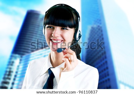 Hapiness Businesswoman standing on the business background