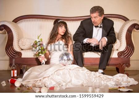 Hapless husband and unhappy bride Stockfoto ©