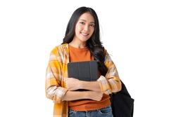 happineess cheerful asian adult female teenager hand hold tablet and backpack casual cloth ready to school concept isolate white background