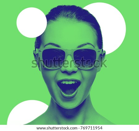 happiness and people concept - portrait of happy amazed teenage girl in sunglasses, trendy duotone effect