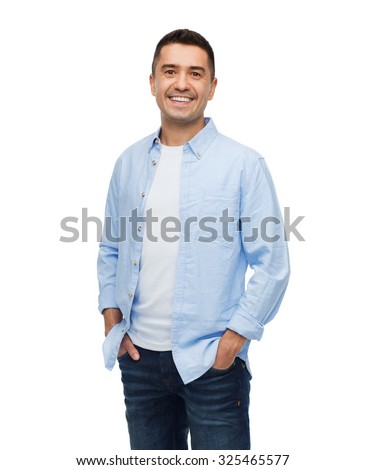 Shutterstock happiness and people concept - smiling man with hands in pockets