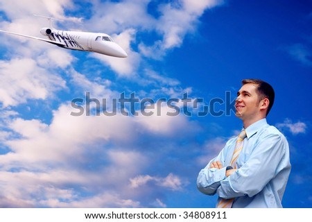 Happiness businessmen on blue sky with airplane