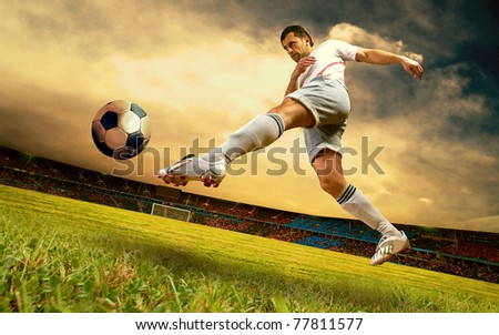 Happiness football player on field of olimpic stadium on sunrise sky
