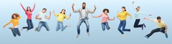 happiness, freedom, motion, diversity and people concept - international group of happy smiling men and women jumping over blue background