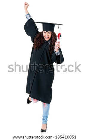 Happiness graduate girl student in mantle with diploma, isolated on white background - stock photo