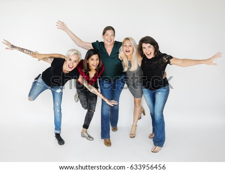 happiness group of women arms...
