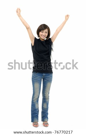 Happiness - isolated girl in blue jeans
