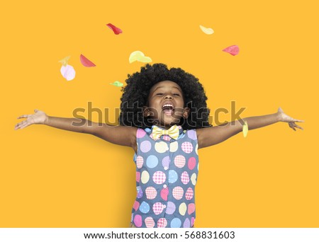 Stock Photo Happiness Little Girl With Petal
