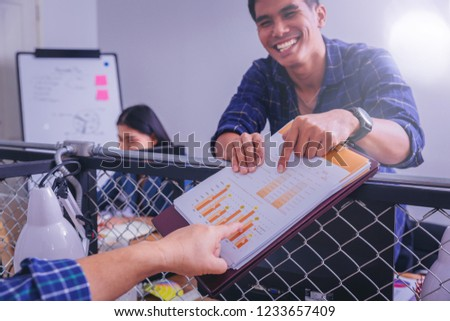 Happiness office businessman clarifying result of business with colleague, explaining strategy happy discussion