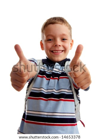 Happiness schoolboy shows OK - stock photo