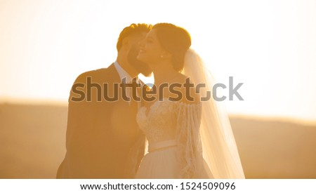 Happty bride is kissed on cheeck by her groom at the sunset.