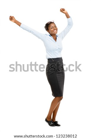 Happy African American business woman celebrating succes isolated on white background